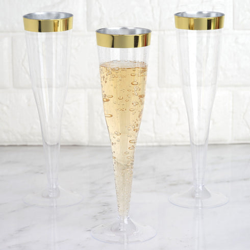 Plastic Champagne Flutes Disposable | 6 oz | 12 Pack | Gold | Rimmed Design | Detachable Base