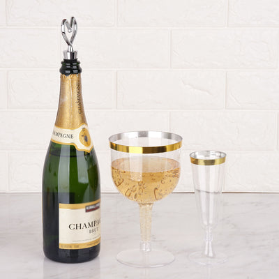 6 Pack 25oz Gold Rimmed Clear Plastic Disposable Giant Champagne Glasses