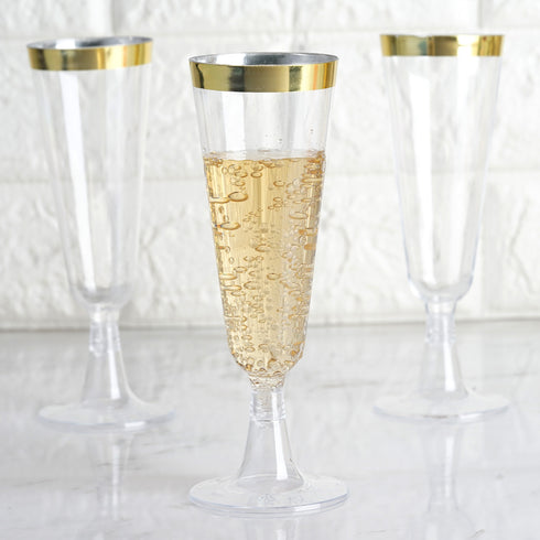 Set of 12 - 5oz Plastic Champagne Flutes Disposable | Gold Rimmed Design | Detachable Base