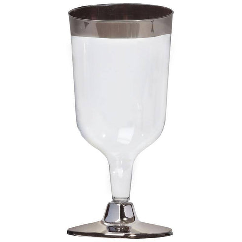 11 Pack - Silver Rimmed 7oz Disposable Wine Glass - Partytown Plastics