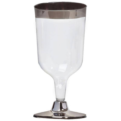 11 Pack - Silver Rimmed 7oz Disposable Wine Glass - Partytown Plastics (Sold Out Until 2017-06-23)