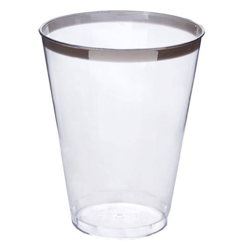 12 Pack - Silver Rimmed 7oz Disposable Cup - Partytown Plastics