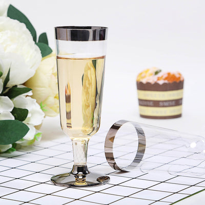 12 Pack Silver Rimmed 6oz Disposable Champagne Glass Partytown Plastics