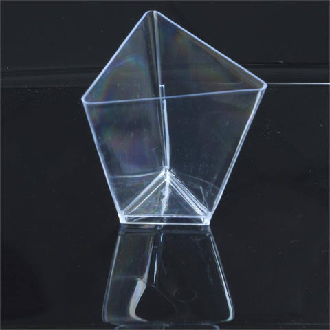 12 Pack - Clear Triangular 2oz Disposable Dessert Cup - Partytown Plastics