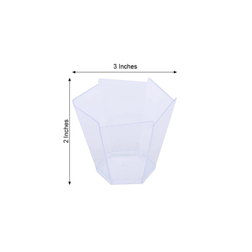 Set of 12 - 3oz Clear Waved Hexagon Chambury Plastic Disposable Dessert Cups