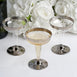 Set of 12 - 5oz Silver Rimmed Plastic Disposable Martini Glasses