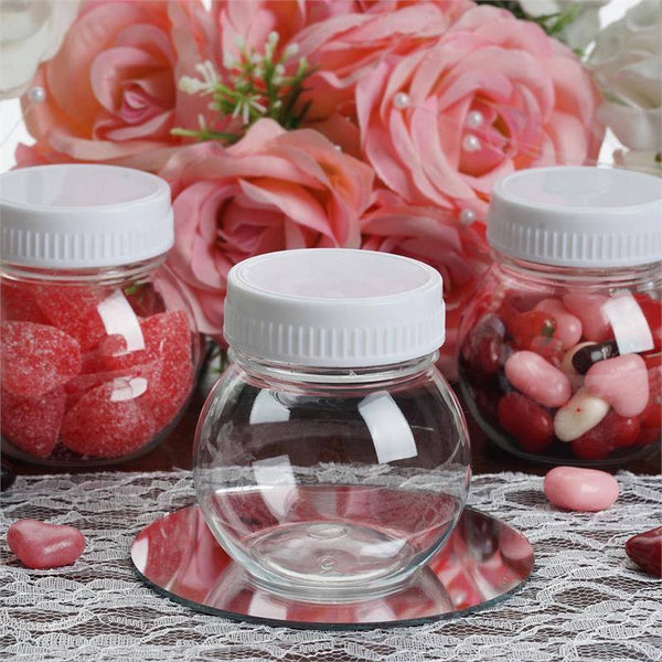 Set of 12 | 6 Oz Plastic Candy Jars Favor Container With White Caps