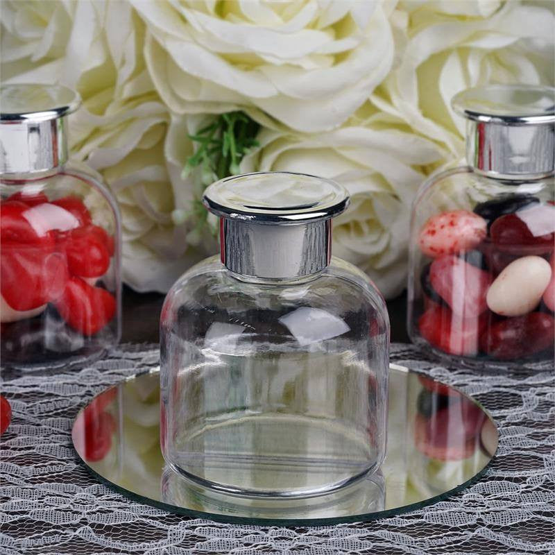 Wholesale Plastic Clear Containers Candy Beverage Favor Jar With Silver Lid - 12 PCS