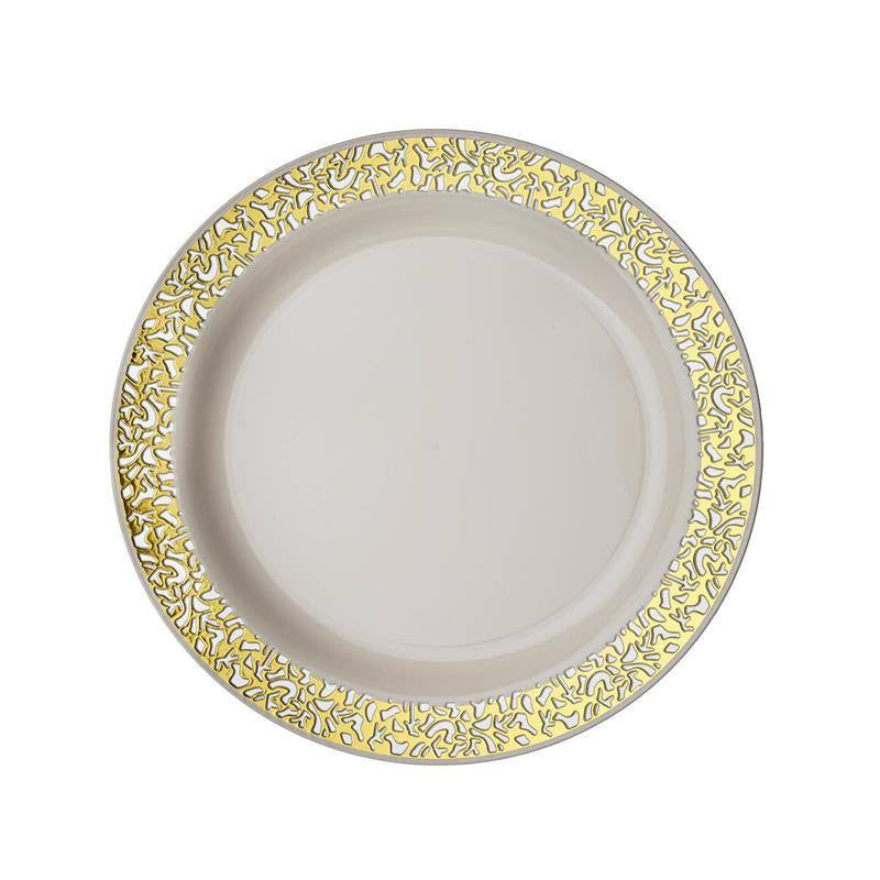 10 pack ivory with gold trimmed round disposable