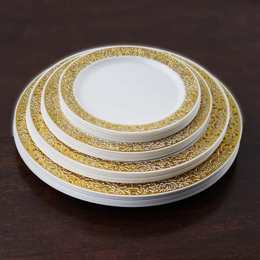 10 pack white with gold trimmed round disposable