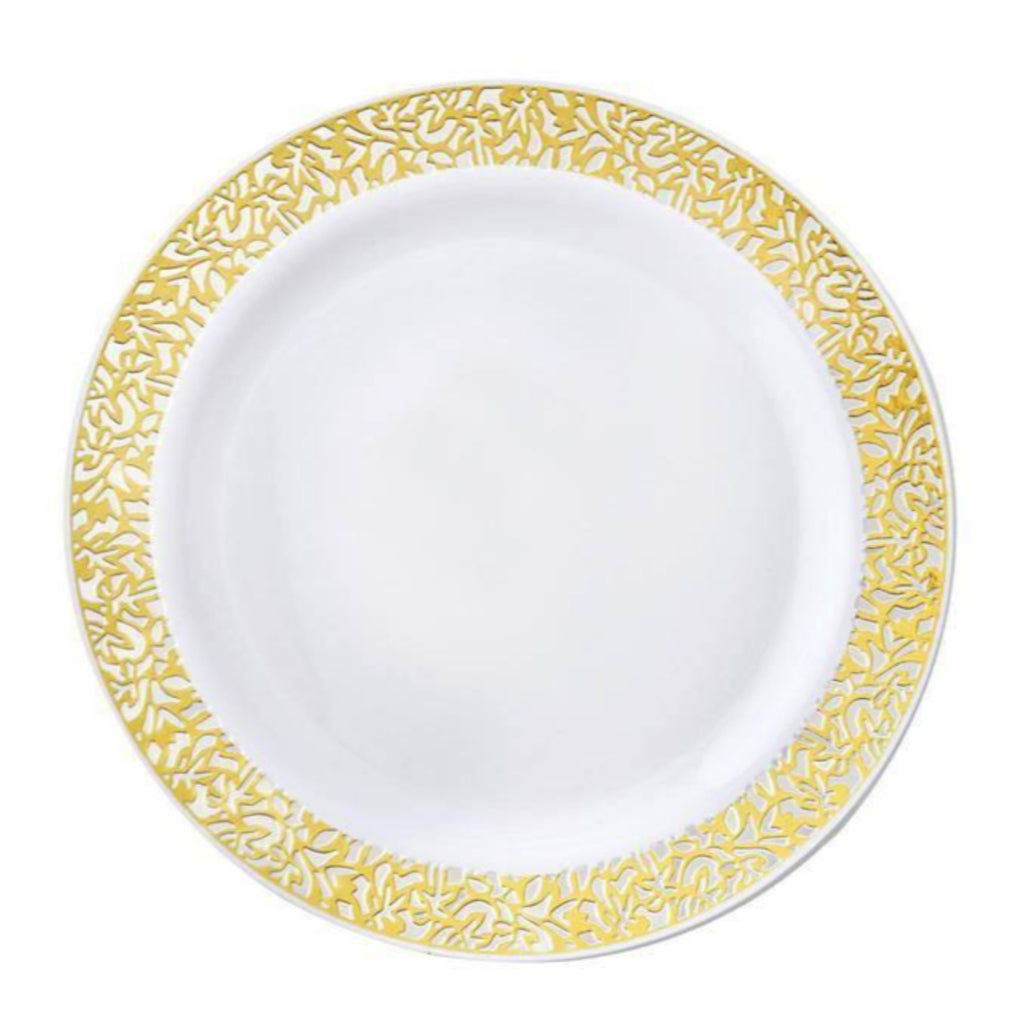 "10 Pack - White with Gold Trimmed 6.25"" Round Disposable Plate - Picturesque Collection"
