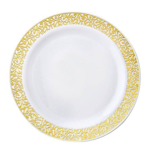 "10 Pack 6"" White Disposable Round Salad Dessert Plates With Gold Lace Design Rim"