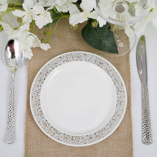 "10 Pack - 6"" White Round Disposable Plastic Salad Dessert Plates With Silver Lace Design Rim"