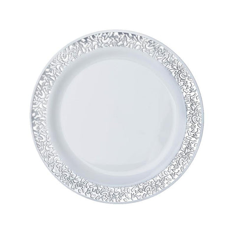 "10 Pack - White with Silver Trimmed 6.25"" Round Disposable Plate - Picturesque Collection"