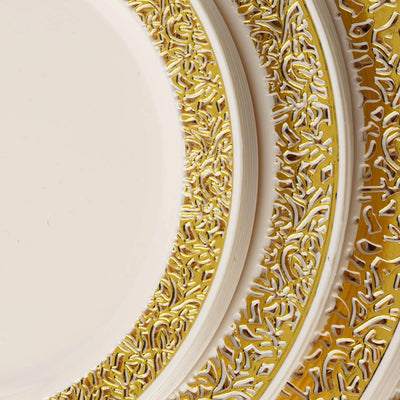 "10 Pack - Ivory with Gold Trimmed 7.5"" Round Disposable Plate - Picturesque Collection"