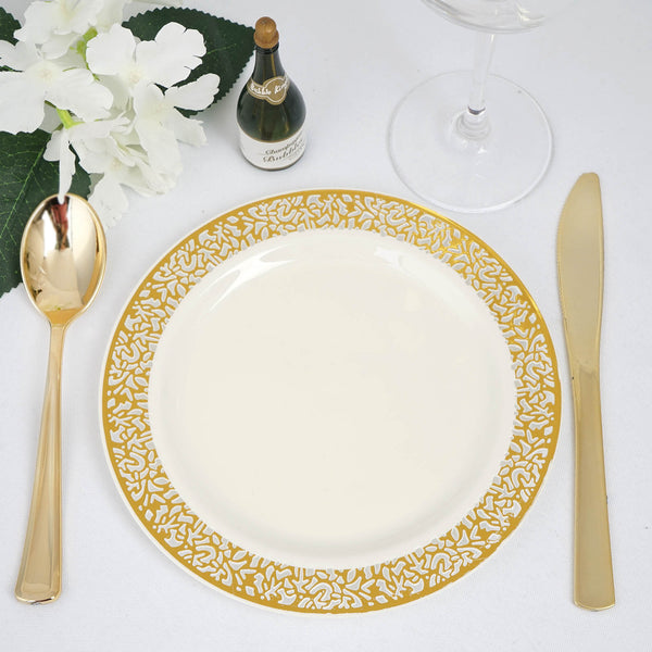 "Set of 10 - 7"" Ivory Round Disposable Plastic Salad Dessert Plates with Gold Lace Design Rim"