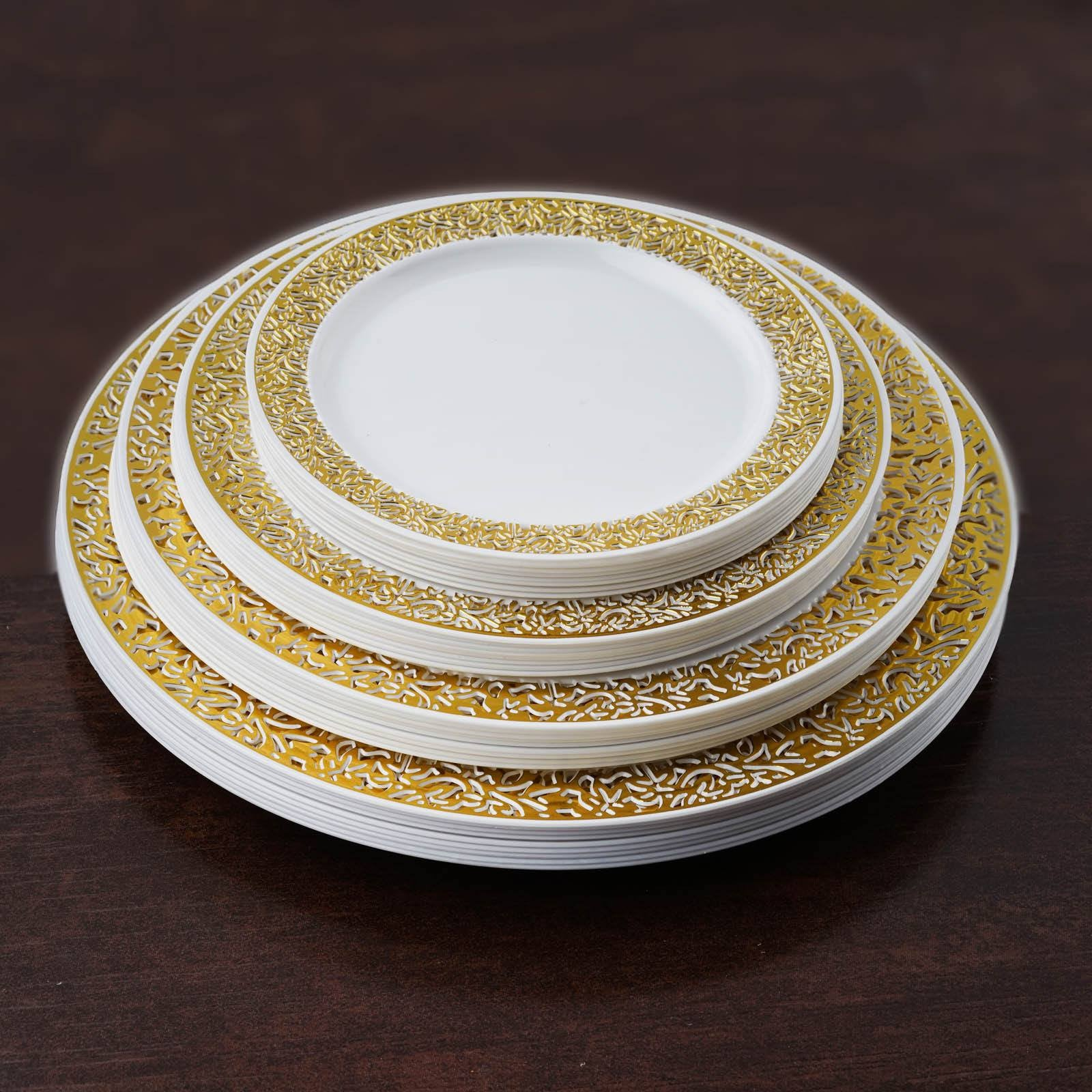10 Pack 7  White Disposable Round Salad Dessert Plates With Gold Lace Design Rim & 10 Pack 7