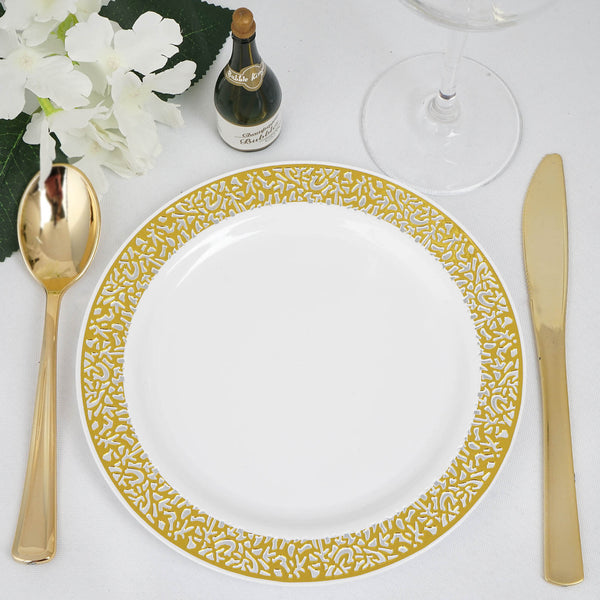 "Set of 10 - 7"" White Round Disposable Plastic Salad Dessert Plates with Gold Lace Design Rim"
