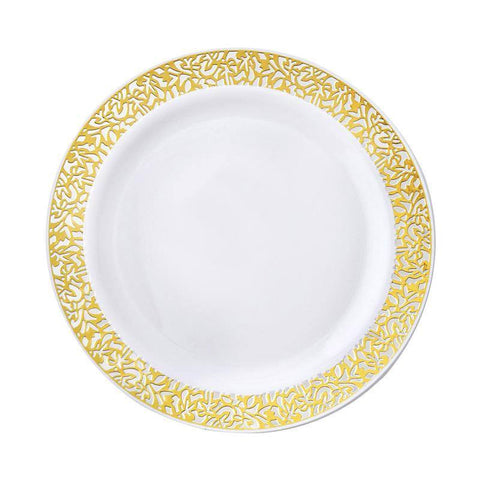 "10 Pack - White with Gold Trimmed 7.5"" Round Disposable Plate - Picturesque Collection( Sold Out )"