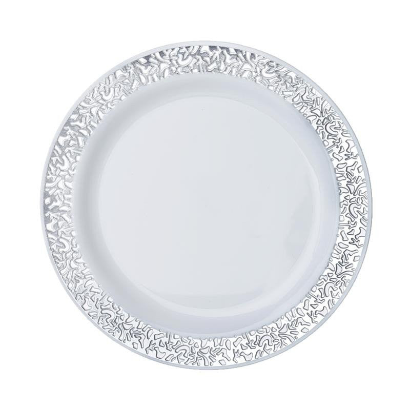 10 Pack 7  White Disposable Round Salad Dessert Plates With Silver Lace Design Rim  sc 1 st  eFavormart.com & 10 Pack 7