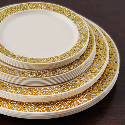 "10 Pack - Ivory with Gold Trimmed 9"" Round Disposable Plate - Picturesque Collection"