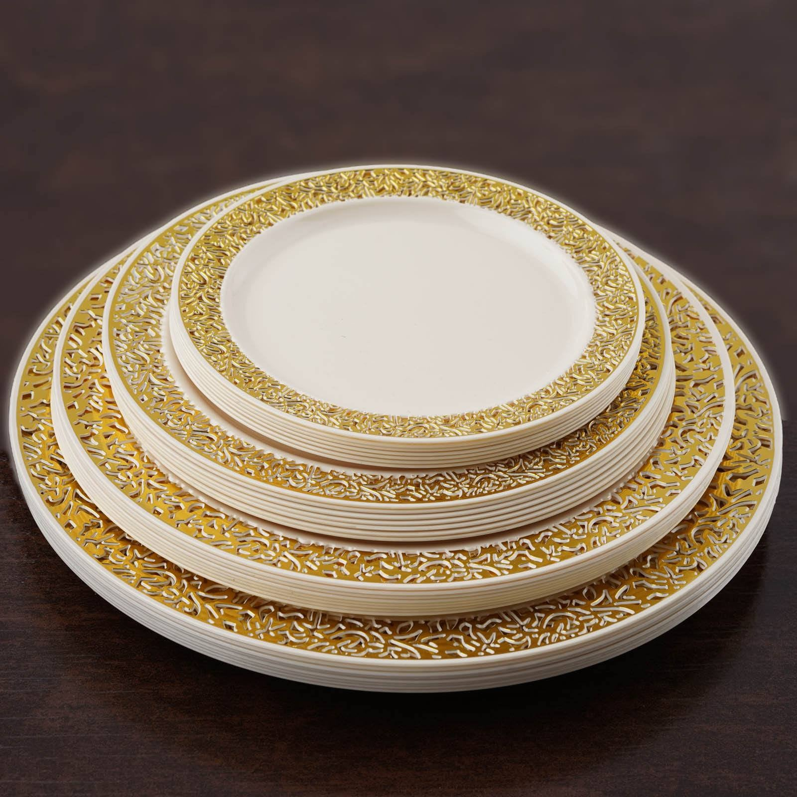 10 Pack - Ivory with Gold Trimmed 9\  Round Disposable Plate - Picturesque Collection ... & 10 Pack 9\