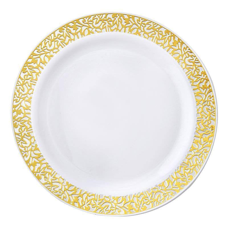 10 Pack 9  White Disposable Round Dinner Plates With Gold Lace Design Rim  sc 1 st  eFavormart.com & 10 Pack 9