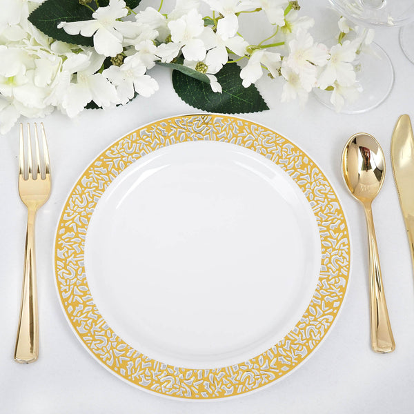 "Set of 10 - 9"" White Round Disposable Plastic Dinner Plates With Gold Lace Design Rim"