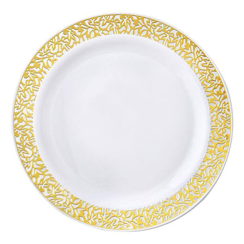 "10 Pack - White with Gold Trimmed 9"" Round Disposable Plate - Picturesque Collection"