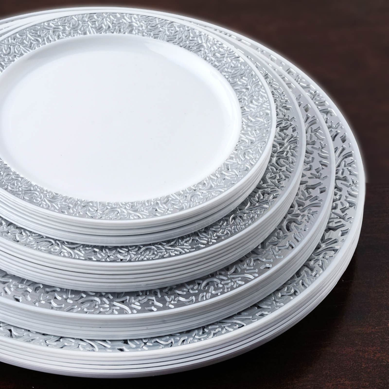 10 Pack 9  White Disposable Round Dinner Plates With Silver Lace Design Rim & 10 Pack 9