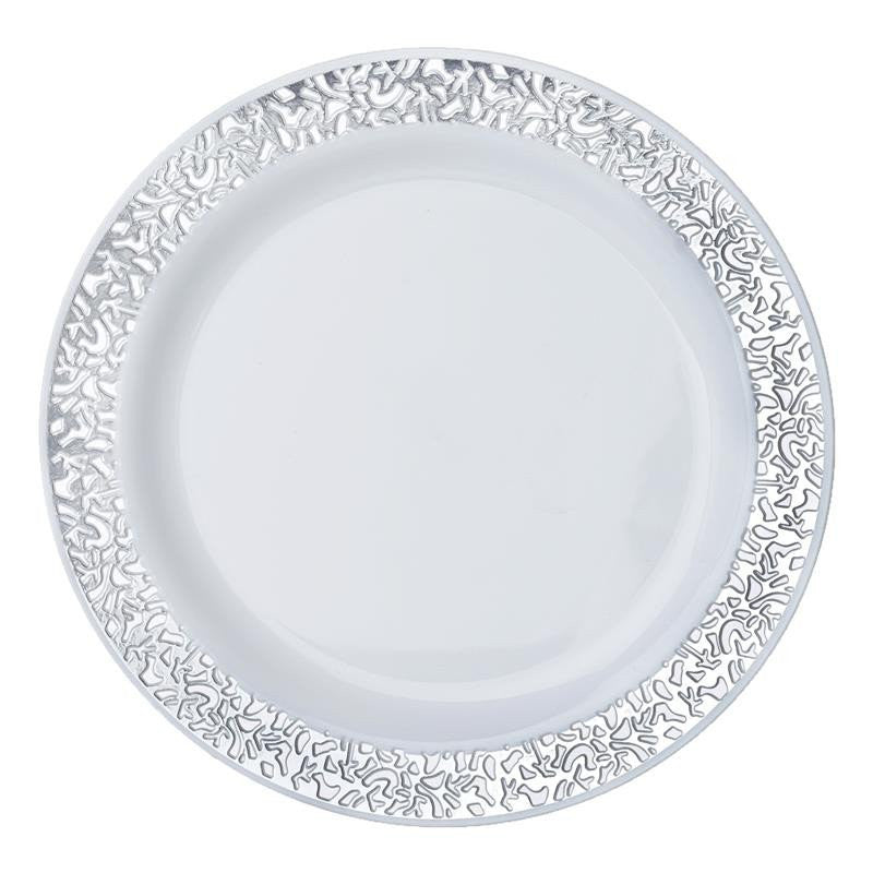 10 Pack 9  White Disposable Round Dinner Plates With Silver Lace Design Rim  sc 1 st  eFavormart.com & 10 Pack 9