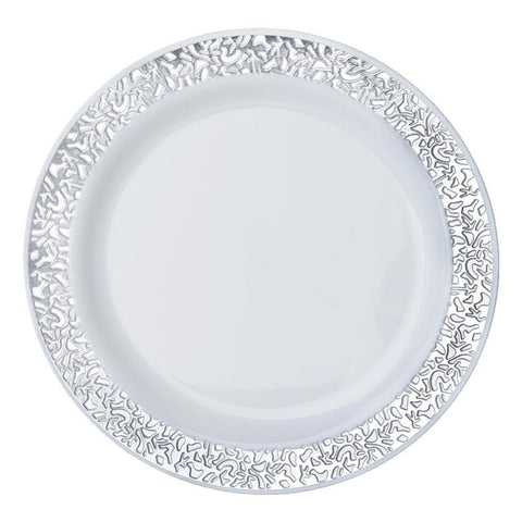 "10 Pack - White with Silver Trimmed 9"" Round Disposable Plate - Picturesque Collection( Sold Out )"