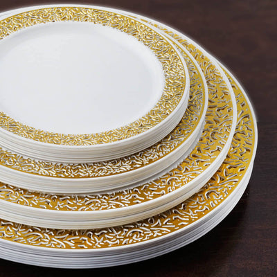 "10 Pack 10"" White Disposable Round Dinner Plates With Gold Lace Design Rim"