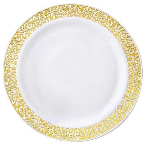 "10 Pack - White with Gold Trimmed 10.25"" Round Disposable Plate - Picturesque Collection( Sold Out )"