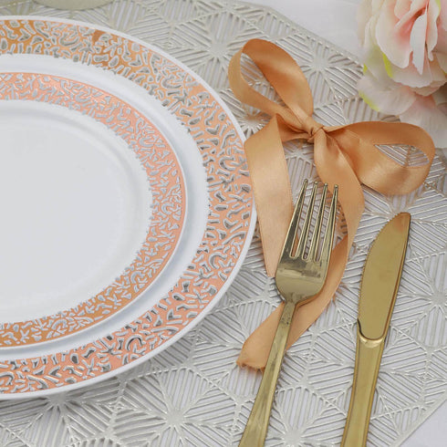 "10 Pack - 10"" White Round Disposable Plastic Dinner Plates With Rose Gold Lace Design Rim"