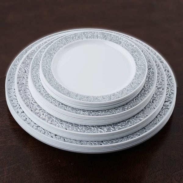 10 Pack White With Silver Trimmed 10 25 Quot Round