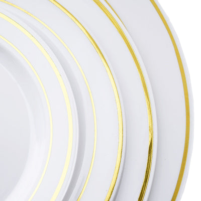 "10 Pack 6"" White Disposable Round Dinner Plates With Gold Rim"