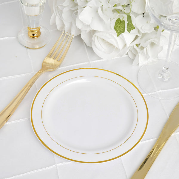 "10 Pack - 6"" White Très Chic Round Disposable Plastic Salad Dessert Plates With Gold Rim"