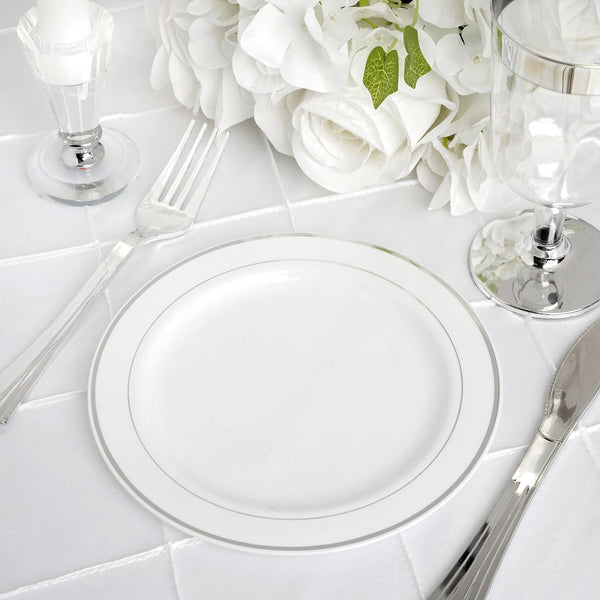 "10 Pack - 6"" White Très Chic Round Disposable Plastic Salad Dessert Plates With Silver Rim"