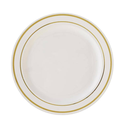 "10 Pack - Ivory with Gold 7.5"" Round Disposable Plate - Tres Chic Collection"