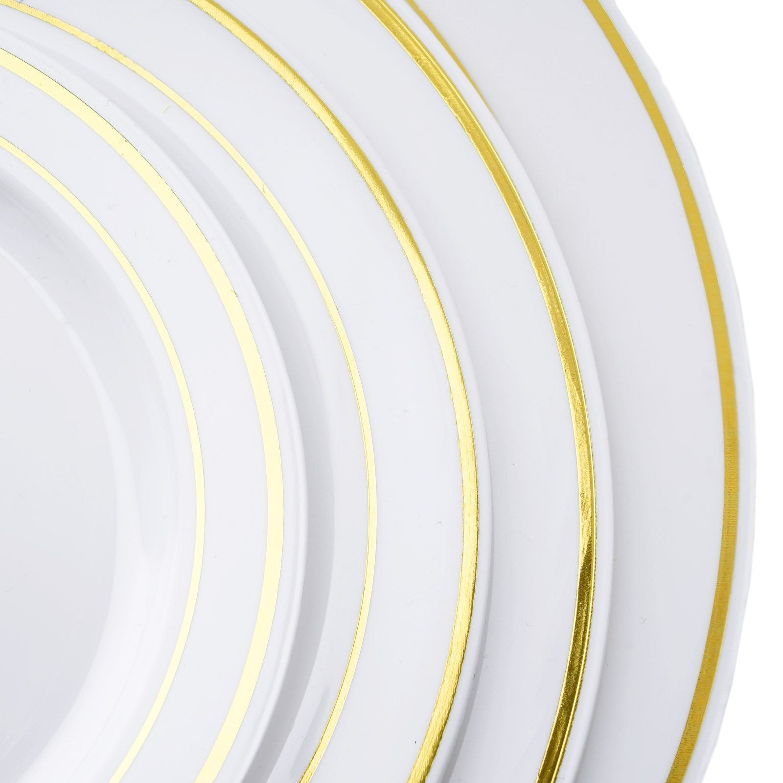 10 Pack 8  White Disposable Round Salad Dessert Plates With Gold Rim  sc 1 st  eFavormart.com & 10 Pack 8