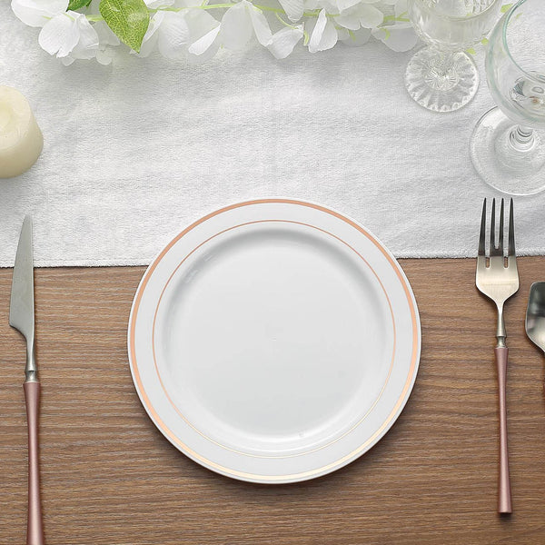 "10 Pack - 8"" Rose Gold Trim White Disposable Round Salad Dessert Plates"