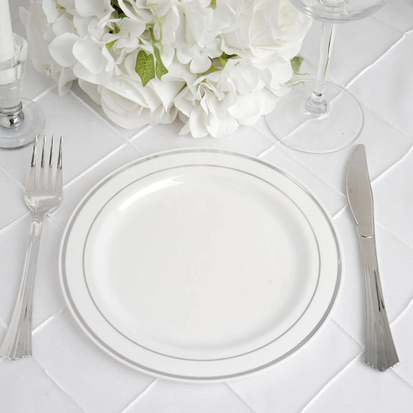 "10 Pack - 8"" White Très Chic Round Disposable Plastic Salad Dessert Plates With Silver Rim"