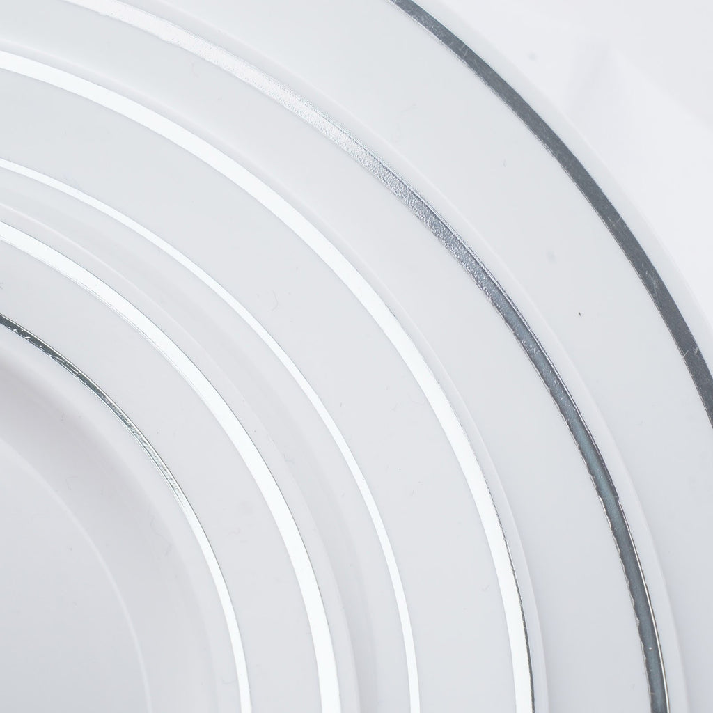 "10 Pack - White with Silver 9"" Round Disposable Plate - Tres Chic Collection( Sold Out until 2017-04-06)"