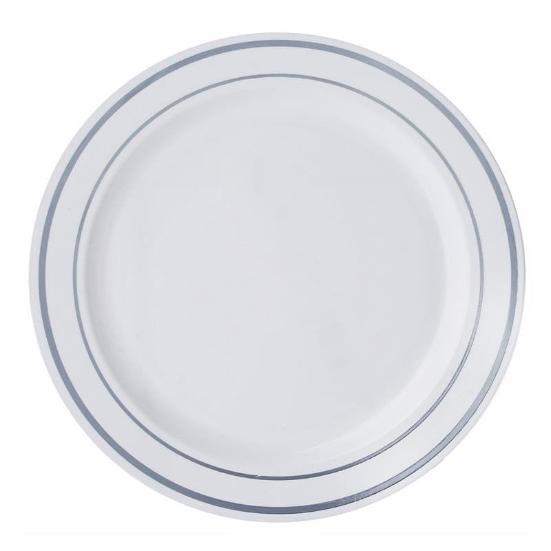 10 Pack 9  White Disposable Round Dinner Plates With Silver Rim  sc 1 st  eFavormart.com : white disposable plates - Pezcame.Com