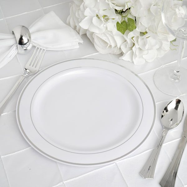 "10 Pack - 9"" White Round Disposable Plastic Dinner Plates With Silver Rim"