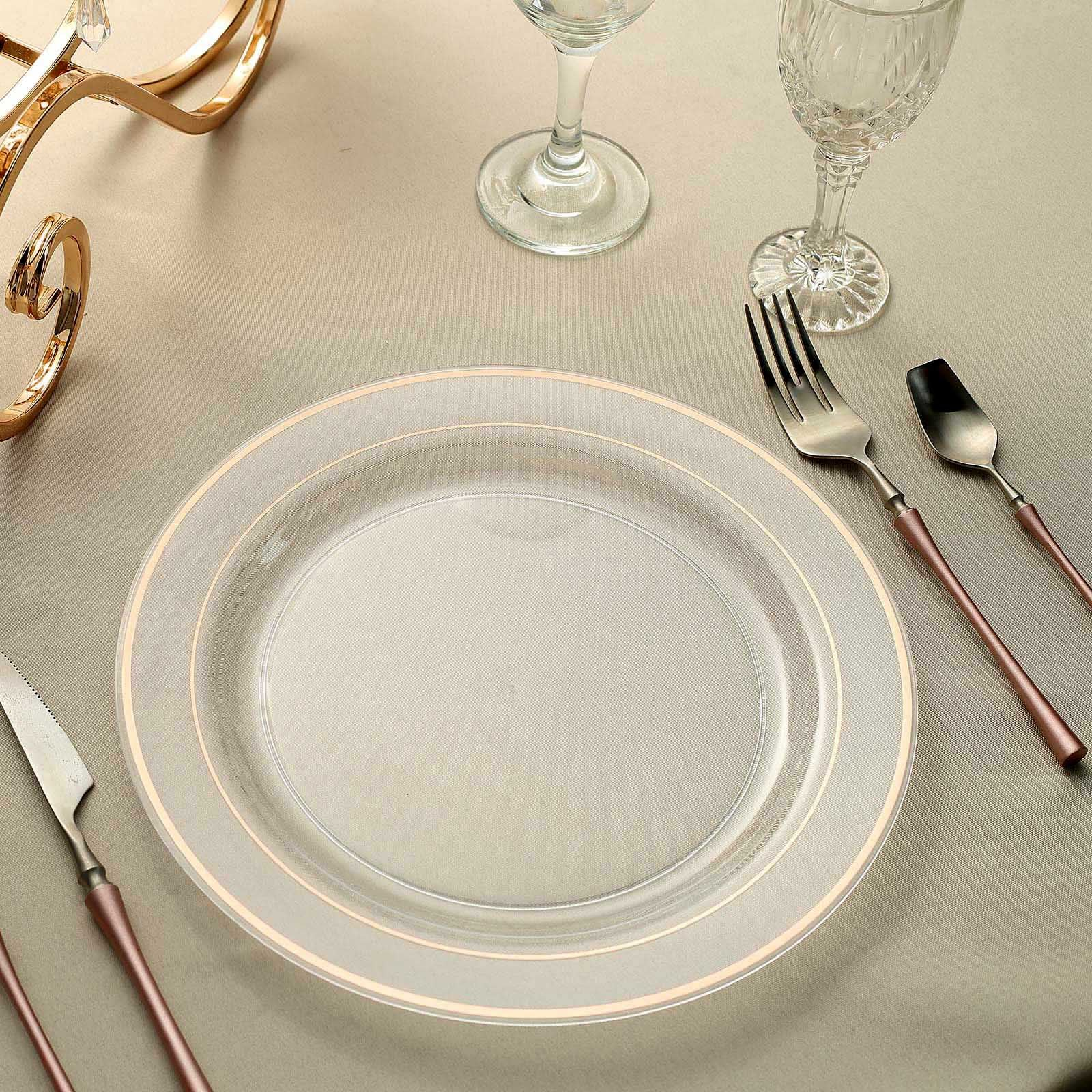 10 10 Pack Rose Gold Trimmed Clear Round Plastic Dinner Plates