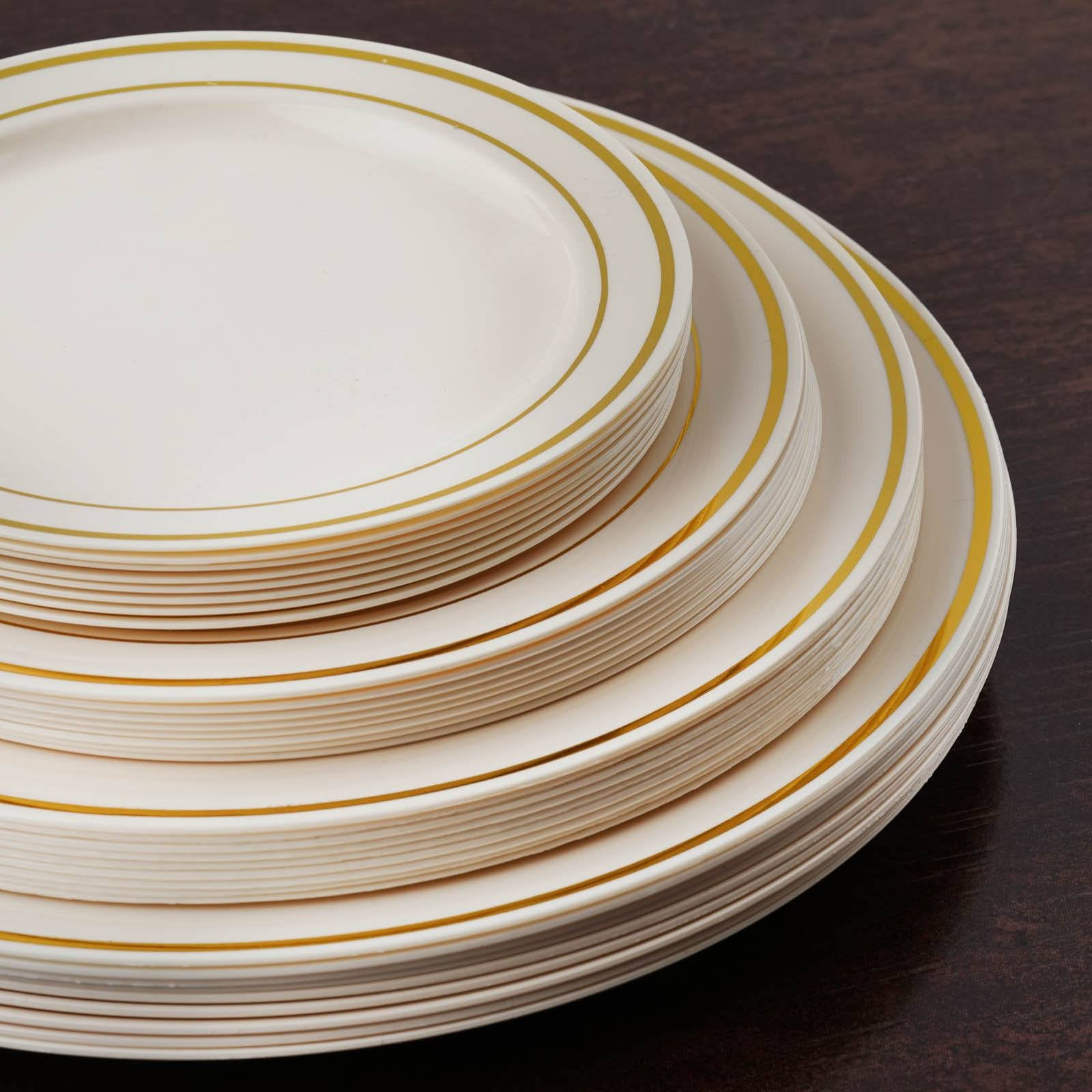 10 Pack - Ivory with Gold 10.25\  Round Disposable Plate - Tres Chic Collection ... & 10 Pack 10\