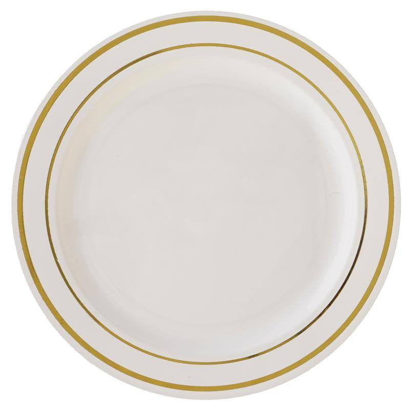 ... 10 Pack - Ivory with Gold 10.25  Round Disposable Plate - Tres Chic Collection ...  sc 1 st  eFavormart.com & 10 Pack 10