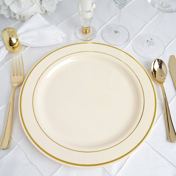 "10 Pack - 10"" Ivory Round Disposable Plastic Dinner Plates With Gold Rim"
